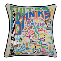 "CATSTUDIO - Outer Banks Pillow by Catstudio - Celebrate the states! These pillows from Catstudio's Geography Collection are delightful keepsakes for remembering the hometown you grew up in or commemorating your favorite vacation spot. Embroidered entirely by hand (over 35 hours go into each one!) with black velvet piping, these make the perfect gift for all occasions! Removable cotton cover and polyfill pillow form. Cover is dry clean only. 19"" square and very plush!"