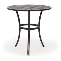 Caluco - San Michelle Round Bistro Table - The San Michelle Round Bistro Table combines style, durability, and comfort to provide unmatched value in outdoor seating.  Pictured in the charcoal grey aluminum.