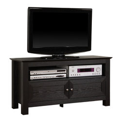 "Walker Edison - 44"" Black Wood TV Stand Console - Provide a beautiful centerpiece for your home entertainment with this 44 -  wood TV console. Crafted from high-grade MDF with a durable laminate finish supports TVs up to 48"". Features open and concealed shelving for ample storage space with a cable management system to help you maintain a tidy appearance"
