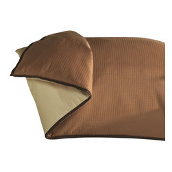 """Mystic Valley - Mystic Valley Traders Cafe Cinnamon - King Duvet Cover - The Cafe Cinnamon duvet cover is fashioned from the eponymous Cinnamon fabric, reversing to the neutral Biscuit fabric, and finished with 1/2"""" Cocoa mitred flange.  As with all Mystic duvet covers, it has a hidden zipper and interior ties in each corner to hold the duvet fast; king 104""""x92"""""""