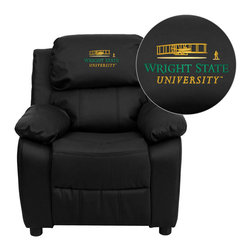 "Flash Furniture - Wright State University Black Leather Kids Recliner with Storage Arms - Get young kids in the college spirit with this embroidered college recliner. Kids will now be able to enjoy the comfort that adults experience with a comfortable recliner that was made just for them! This chair features a strong wood frame with soft foam and then enveloped in durable leather upholstery for your active child. This petite sized recliner features storage arms so kids can store items away and retrieve at their convenience. Wright State University Embroidered Kids Recliner; Embroidered Applique on Headrest; Overstuffed Padding for Comfort; Easy to Clean Upholstery with Damp Cloth; Flip-Up Storage Arms; Storage Arm Size: 3.25""W x 6""D x 11""H; Solid Hardwood Frame; Raised Black Plastic Feet; Intended use for Children Ages 3-9; 90 lb. Weight Limit; Black LeatherSoft Upholstery; LeatherSoft is leather and polyurethane for added Softness and Durability; CA117 Fire Retardant Foam; Safety Feature: Will not recline unless child is in seated position and pulls ottoman 1"" out and then reclines; Overall dimensions: 25""W x 26"" - 39""D x 28""H"