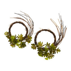 "Nearly Natural - Nearly Natural Mixed Succulent Wreath (Set of 2) - Sometimes, a decoration is so unique that one is not enough. That's definitely the case with this 9"" mixed succulent wreath set. The spiny stems, twisting and curving every-which-way, provide the ideal setting for the lush succulent blooms.  And since this is a set of two, your decorating options double (place one on either side of something you wish to highlight, or even give one as a gift!) Either way, this wreath is sure to delight year-round."