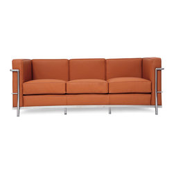 "IFN Modern - Le Corbusier LC2 Style Sofa-Brown - 100% Italian Leather - Created by one of the most well-known Swiss-French architects Le Corbusier (Charles-Edouard Jeanneret-Gris), the LC line is Le Corbusier's successful effort at fusion of urban style with the industrial steel age as a breakthrough to modernism. Like a cushion cradle, the LC Reproduction line boasts a unique, stylish and attention-grabbing externalized frame that holds the cushions like little baskets. Originally designed for the Maison la Roche in Paris as part of Le Corbusier's 2 projects, the final product of chrome-plated tubular steel chairs have now become an iconic timeless collection imbued with elegance and class. As a specialized manufacturer of famous mid-modern designer furniture, the LC Line Reproduction by IFN Modern also reflects these qualities not only in terms of classy and elegant appearance but also in utmost care in details such using premium construction material in 100% full grain leather and solid stainless steel. This collection features:1. A cushioned sofa/""bed"" to comfortably fit 3 people or for a relaxing lay after a day's of work.2. Signature look of externalized steel frame 3. Plush cushions that stay in shape to cradle the contours of the delicate body for a perfect fit and comfortable session. 4. Back to front to bottom, side to side fully upholstered in full grain Italian/Aniline leather5. Hassle-free maintenance from easily detachable cushions from frame 6. Functionally elegant piece sofa/bed piece • Product is upholstered in 100% Full Grain Italian Leather, 100% Full Grain Aniline Leather or Fabric • Variety of colors available• Long lasting durability and strength with high grade solid stainless polished steel frame resistant to chipping/rusting.• Silky smooth corners from detailed welding, grinding and sanding• Balanced stability on all surfaces with adjustable floor-leveling footcaps• Plush cushions that stay in shape for short-long sessions comfort with high density injected foam."
