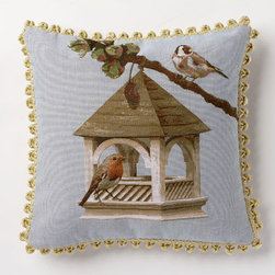 Corona Decor - Bird House Branch Pillow - -80% cotton 20% wool.  -Made in france.  -Finished with hand tied fringe in the USA.  -Zippered with poly inserts.   -Dry clean only.   Corona Decor - PF8720/L