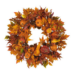 "Nearly Natural - Nearly Natural 28"" Harvest Wreath - What a better way to decorate your home for fall than with our festive Pumpkin Wreath? Breathtaking autumn colors encircle a foundation of harvest pumpkins, brilliant gourds, and berry sprigs of russet and gold. leaves in every stage of change balance the wreath and create a lovely decoration suitable for hanging anywhere a bit of fall splendor is desired."