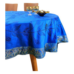"Banarsi Designs - Hand Painted Floral Round Tablecloth (Ocean Blue, 90"" Round) - Transform your table into a display of art with the Hand Painted Floral Round Tablecloth from our exclusive collection, available in two sizes: 70-Inch Round and 90-Inch Round. This tablecloth has been expertly crafted in India using distinct and creative hand painted techniques. Hand-painted strokes are naturally illustrated throughout the tablecloth using careful precision, embellished with the Banarasi Saree border, adding radiance and beauty to the overall design. Our round tablecloths are perfect for decorating your tables for a special occasion or event. Note: Since this product is hand painted, the design may slightly vary from the picture. Banarsi Designs Exclusive"