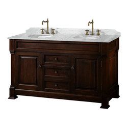 """Wyndham - Andover 60"""" Traditional Double Bathroom Vanity Set - Dark Cherry - A new edition to the Wyndham Collection, the beautiful Andover bathroom vanity series represents an updated take on traditional styling. The Andover is a keystone piece, with strong, classic lines and an attention to detail.; The vanity and solid marble countertop are hand carved and stained. Available in Black and Dark Cherry finishes to match any decor. Available in a range of single or double vanity sizes to fit any bathroom.; Dark Cherry Finish; Includes Solid Marble Counter - White Carrera; Includes White Porcelain Basin; Includes Backsplash; Includes Matching Mirrors; Fits 60 inch space; Faucet not included; Constructed of environmentally friendly, zero emissions solid oak wood, engineered to prevent warping and last a lifetime; Dimensions: Vanity 60 x 23 x 35; Mirror 55 x 41"""
