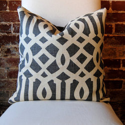 """Imperial Trellis In Midnight By Schumacher Pillow Cover By Martha And Ash - """"Imperial Trellis"""" by Kelly Wearstler for Schumacher is yet another iconic fabric that is usually easy to find as a pillow cover on Etsy. This charcoal gray colorway is one of my favorites."""