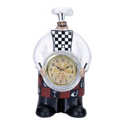 """Benzara - Chef Wall Clock with Dainty Checkered Pattern - Add style and finesse to your kitchen with this adorable and intricately detailed Chef W Clock 9""""H, 4""""W. This table clock depicts an adorable chef figurine dressed in the typical white apron and a tall chef's hat. Place this clock in your kitchen or in near the dining area, it is sure to make a wonderful decor accent. Designed with a wide silver platter, this radial clock is fitted over this platter and is held by the chef figurine which lends a unique touch to the design. Detailed with vibrant colors and dainty checkered pattern, this chef style clock is sure to make a delightful addition to your kitchen. Expertly designed from high quality polystone material, this clock is a perfect mix of style and functionality. It is durable, and has a long life..; Designed from high quality polystone material; Depicts an adorable chef figurine; Bring to your kitchen style and finesse; Vibrant colors and dainty checkered pattern; Weight: 1.01 lbs; Dimensions:4""""W x 3.5""""D x 9""""H"""