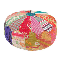 Kantha Handstitched Pouf, Patriot
