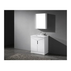 "Madeli - Madeli Savona 30"" Bathroom Vanity for Integrated Basin - Glossy White - Madeli brings together a team with 25 years of combined experience, the newest production technologies, and reliable availability of it's products. Featuring sleek sophisticated lines Madeli vanities are also created with contemporary finishes and materials. Some vanities also feature Blum soft-close hardware. Madeli also includes a Limited 1 Year Warranty on Glass Vessels, Basin, and Counter Tops. Elegance and sophistication are just two words to describe the Savona Collection. Featuring a distinctive, geometric design with unique vertical handle and polished chrome legs, it's sure to add a sense of modern, European flair to your bath. The beauty and warmth of the polyurethane protected solid wood veneer in a Walnut or Glossy White finish accentuate its timeless design, and sets off the beauty of the integrated counter and basin. Two soft-closing doors open to a spacious interior and a concealed interior drawer.Features Base vanity with Blum Soft Close hinge drawer inside Soft-close drawer glides Glossy White finish Polished Chrome handle and leg finish1-1/2""H X-Stone Solid Surface Countertop/basin with overflow drilled for single-hole or 8"" widespread faucetsTempered Glass Basin with Backsplash and without overflow for a single-hole faucetFaucet and drain are not includedMatching mirror and medicine cabinet available Limited 1 Year Warranty on Glass Vessels, Basin, and Counter Tops How to handle your counterSpec Sheet for X-Stone Top Spec Sheet for Glass Top Installation Instructions"