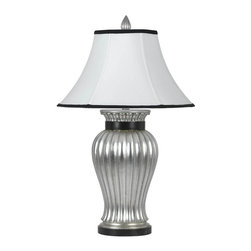 Cal Lighting - Angelo Resin Table Lamp & Shade w Black Trim in Antique Silver - Requires 150W bulb (not included). 3-Way. Angelo resin table lamp. Bell stretched fabric shade with black trim. Antique Silver finish. Height: 32 in.. Base: 8 in.