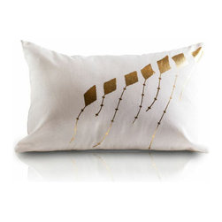 Samir Gold Pillow - A soft, cotton-linen pillow featuring hand-block-print, poetic kites in metallic gold foil. The natural pallete is soothing with a playful touch to any child's room. (Samir meaning: Early morning fragrance; Breeze; or Wind)