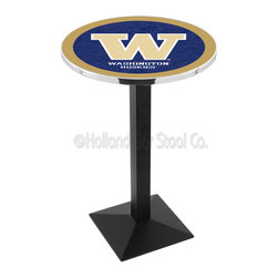 Holland Bar Stool - Holland Bar Stool L217 - Black Wrinkle Washington Pub Table - L217 - Black Wrinkle Washington Pub Table belongs to College Collection by Holland Bar Stool Made for the ultimate sports fan, impress your buddies with this knockout from Holland Bar Stool. This L217 Washington table with square base provides a commercial quality piece to for your Man Cave. You can't find a higher quality logo table on the market. The plating grade steel used to build the frame ensures it will withstand the abuse of the rowdiest of friends for years to come. The structure is powder-coated black wrinkle to ensure a rich, sleek, long lasting finish. If you're finishing your bar or game room, do it right with a table from Holland Bar Stool. Pub Table (1)