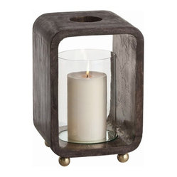Arteriors - Slade Hurricane, Small - Set the mood with candlelight and display your flair for simple elegance. Wood, glass, embossed metal and brass all come into play, making this hurricane lantern a sublime addition to your decor.