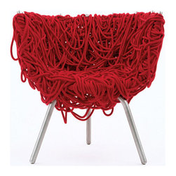 Vermelha Chair - Designed in Brazil and manufactured in Italy, this unique chair's unique upholstery is completely made of intertwined cotton ropes, making this a sculptural, museum-worthy piece.