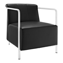 LexMod - Ebb Vinyl Lounge Chair in Black - Gradually ease into your living space with the Ebb lounge chair. Ebb's design flows a calming effect over your room as you sink into the plush vinyl seat and back. Ebb's stainless steel round tube arms develop the perfect enclosure to the progressive organic design. Ebb is perfect for contemporary homes and other settings on the move.