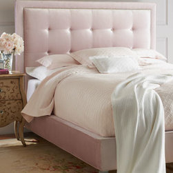 "Haute House - Haute House ""Callista"" Queen Bed - Pink cotton/rayon velvet with nailhead trim and button-tufted headboard. Frame is alder wood and plywood. Legs have a silvery finish. 68.5""W x 88""L x 58.5""T. Made in the USA."