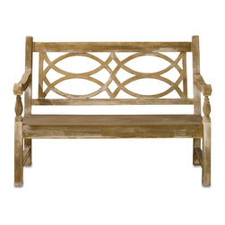Currey & Co - Currey & Co 2724 Hatfield Portland Bench - The Currey & Co 2724 Hatfield Portland Bench is built to last. It is constructed from steel and concrete, some of the most durable materials out there. The beautiful geometric design is sure to impress anyone who visits your home. Place this bench out in your yard, or you can have it in a main living area. Since it is 54 in. wide and 42 in. tall, it is great for use during a party or occasion that you have at your home.