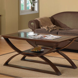 None - Bentwood Coffee Table - Add a modern touch to your home decor with this Bentwood coffee table Furniture piece is made with layered wood and birch veneersTable features an inset,dark tinted glass top