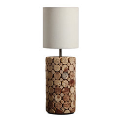 Artistic Table Lamp With Solid Wooden Pieces Piled Up Base