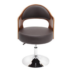 "Lumisource - Cello Chair, Walnut/Brown - 21.5"" Diam. x 30.5 - 34.5H"