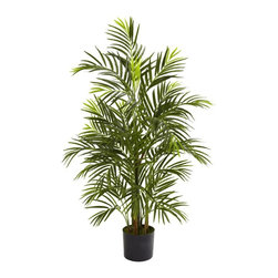 Nearly Natural - 42 in. UV Resistant Areca Palm Tree - Includes tree pot. Multiple trunks. Indoor and outdoor use. Ideal for home and office decor. Trunk type: Artificial-non-bendable. Number of leaves: Five hundred twenty two. Made from silk. Green color. Tree pot: 6.5 in. Dia. x 6 in. H. Overall: 28 in. Dia. x 42 in. HAt home in your living room as well as your patio, deck or garden, this wonderful Areca palm tree is an ideal piece of natural looking decor.