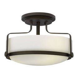 Hinkley Lighting - Hinkley Lighting 3641OZ Harper Foyer Light - Harper's sleek, retro design elevates the traditional flush mount with a unique opal glass bound by a prominent metal ring and decorative knobs available in three finishes.