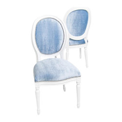 Louis Dining Chair, Trend Denim - Fluid curves define the chairs of the Louis XV period. Revamped in a 2011 combination, sleek painted carved frames, striking Trend Denim Velvet upholstery and a white high gloss frame. Perfect as accent pieces or as dining seating.