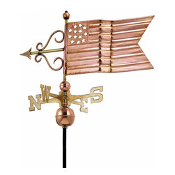 "G.D. - Good Directions American Flag Weathervane - Polished Copper - You'll show off your patriotism when you let this flag proudly wave over the rooftop of your house, barn, garage, or cupola. Our Good Directions' artisans use Old World techniques to handcraft this fully functional, standard-size weathervane that's unsurpassed in style, quality and durability. A great gift for enthusiasts of Americana!    Dimensions: 31""L x 15""H"