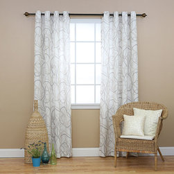 None - Tribal Print Faux Linen Grommet 84inch Curtain Pair - This grommet curtain pair feature a simple and modern tribal print that adds a fresh and contemporary look to any room. These curtains allow natural light to flow through the room while providing privacy.