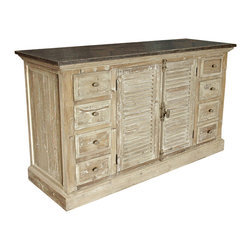 Kathy Kuo Home - French Provincial Louvered Doors White Wash Sideboard - Give your dining room a rustic French country style look, with this vintage-inspired, whitewashed sideboard. This well-made piece will hold all your dishes with sophistication, and set a refined, effortless tone for your entire room.