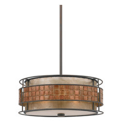 Quoizel - Quoizel 'Laguna' 3-light Pendant - This mica piece is an addition to the Quoizel Naturals collection and features a mosaic tile stripe,which appears to be floating around a taupe mica shade. The tiles have a coppery shimmer for an added touch of elegance.