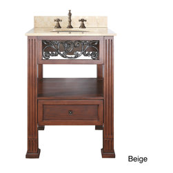 None - Avanity Napa 24-inch Single Vanity in Dark Cherry Finish with Sink and Top - A dark cherry finish is accented by antique brass floral scrolling for a chic decorative effect on the beautiful Napa vanity. With your choice of marble or granite top,this beautiful vanity will add sophisticated flair to any bathroom.