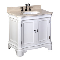 Kitchen Bath Collection - Katherine 36-in Bath Vanity (Crema Marfil/White) - This bathroom vanity set by Kitchen Bath Collection includes a white cabinet, beige Spanish Crema Marfil marble countertop with stunning beveled edges, undermount ceramic sink, pop-up drain, and P-trap. Order now and we will include the pictured three-hole faucet and a matching backsplash as a free gift! All vanities come fully assembled by the manufacturer, with countertop & sink pre-installed.