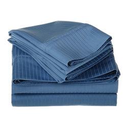 1000 TC Egyptian Cotton Cal. King Medium Blue Stripe Sheet Set - 1000 Thread Count Egyptian Cotton oversized California King Medium Blue Stripe Sheet Set