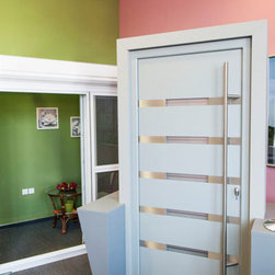"""Modern Front Entry Doors - """"Lissabon"""" - aluminum modern entry door complete with door frame and handles. Comes in different finishes: white, silver, gray, brown and black."""