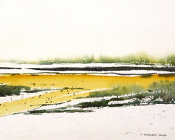Field Flowers - Original Watercolor Painting - Abstract landscape of the the yellow wild flowers in springtime blanket the fields around Santa Fe and seem to flow in a mild breeze .