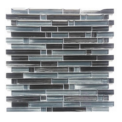 "MOSAICANDTILESOURCE - ""PICASSO"" Black Glass Mosaic Backsplash Tile with a White Brushed Rear Finish - Additional tile information:"