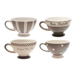 Linen Set of Four Assorted Jumbo Mugs - The cheer and charm of a French bistro tucked far away from the everyday fray inspires the whimsical design of the Linen Set of 4 Assorted Jumbo Mugs. French bon mots, the prettiness of polka dots, a petite old-world checker detail, and vintage stripes all lend an air of joie de vivre. Generously sized for sipping caf au lait or richly flavored consomm.
