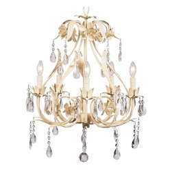 Ballroom Crystal Chandelier Ivory - Just gorgeous! This ivory 5-arm chandelier is surrounded in flowers and dangling crystals. A perfect size for an elegant kitchen, dining room or child's bedroom.