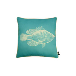 Oahu 18X18 Reversible Pillow (Indoor/Outdoor) - 100% polyester cover and fill.  Made in USA.  Spot clean only