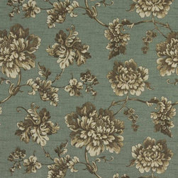 Turquoise Brown And Ivory Floral Indoor Outdoor Upholstery Fabric By The Yard - This upholstery grade fabric can be used for all indoor and outdoor applications. It is Scotchgarded, and is mildew, fade, water, and bacteria resistant. This fabric is made in America!