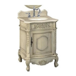 Belle Foret - Petite Single Basin Vanity w Marble Top in An - Manufacturer SKU: BF80030R. Includes:. Undermount beige porcelain basin. Antique Brass cabinet hardware. Backsplash. Faucet Not Included. Cream Marble top & backsplash. Antique Parchment finish. Door opens to storage compartment. Pre-drilled for 8 in. center faucet, not included. 25.5 in. W x 20.5 in. D x 37 in. H