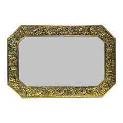 Lavish Shoestring - Consigned Octagonal Brass Wall Mirror by Linton, Vintage English Art Deco - This is a vintage one-of-a-kind item.