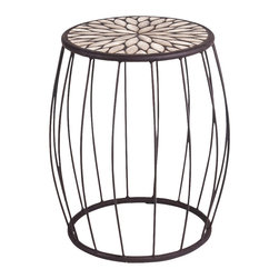 New Rustics - New Rustics Mosaic Cage Side Table Speckled Hen in Wrought Iron - This new collection brings an artsy street-style cafe look to any outdoor living space. Handmade with wrought iron and unusual handcut rustic slate, pebbles, and glazed tile inlay patterns, these pieces also compliment indoor decor with natural colors and streamlined designs.