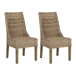 Safavieh - Suncoast Arm Chair (Set Of 2) - Natural Unfinished - A classic shape gets redefined in the woven rattan Suncoast armchair. Crafted from rattan and renewable mango wood in a natural grey transparent finish, Suncoast injects the classic sloping armchair with an effortless, easy-going appeal. Set of 2.