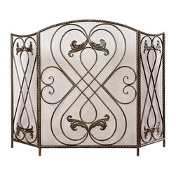 Effie Fireplace Screen - Hand-forged knots, hearts, and leaves, painted a rich, dark black and chestnut tone and backed with a sheer metal mesh for safety with wood-burning hearths, the Effie Fireplace Screen is bordered by twisted metal edges that arch into the screen's classic camel-backed shape. Sleek and versatile, this triptych-style screen allows a comforting view of your fire along with a touch of elegance.
