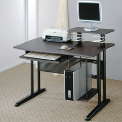 Coaster - Contemporary Computer Desk in Metal Black - This desk makes computer use simple, with a generously sized work top, and elevated shelf for a computer monitor, and attached CD holders. Roll out keyboard tray adds convenience, with a low shelf along the side to hold your CPU tower.