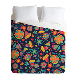 Arcturus Bloom 1 King Duvet Cover - Sweet dreams are made of this, folks. Bright, artsy flowers and a dark blue background on top reverse to reveal white poly-cotton underneath. Slide it over your favorite duvet, zip the hidden zipper and you're set for snoozing.